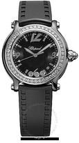Chopard Happy Sport Black Dial Ceramic Diamond Ladies Watch