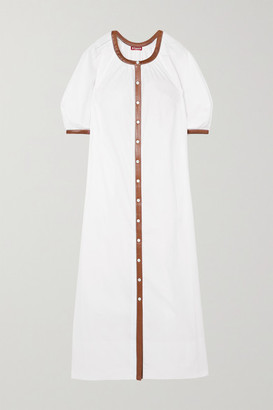 STAUD Vincent Vegan Leather-trimmed Cotton-blend Poplin Dress - White