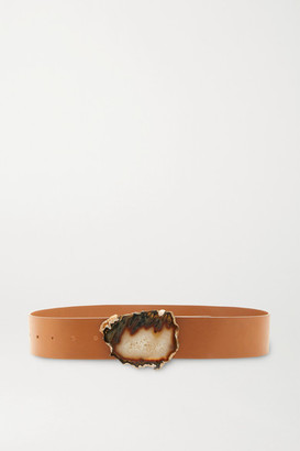 Gabriela Hearst Leather And Agate Belt - Camel