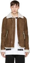 Off-White Brown Shearling Harrington Jacket