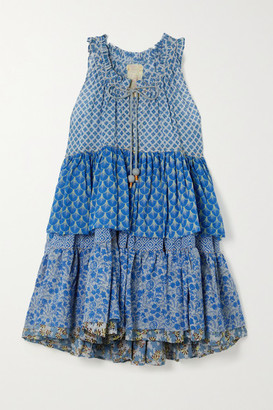 Yvonne S Hippy Tiered Printed Cotton-voile Mini Dress - Blue