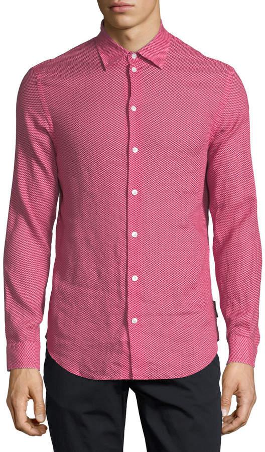 Emporio Armani Chevron-Print Linen Sport Shirt