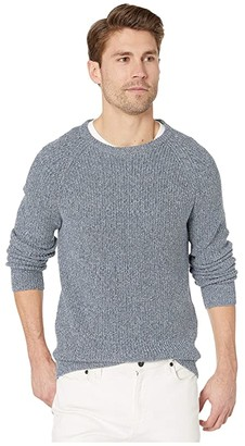 J.Crew Marled Cotton Raglan-Sleeve Crewneck Sweater (Marled Ocean View) Men's Clothing