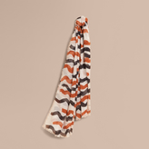 Burberry Waves Print Cotton Cashmere Scarf