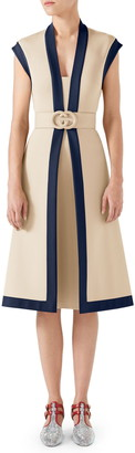 Gucci Contrast Trim Belted Midi Dress