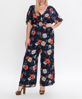 Flying Tomato Navy Floral Wide-Leg Jumpsuit - Plus