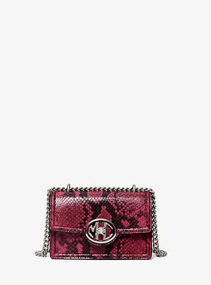 Michael Kors Monogramme Mini Snake Embossed Leather Chain Shoulder Bag - Mauve