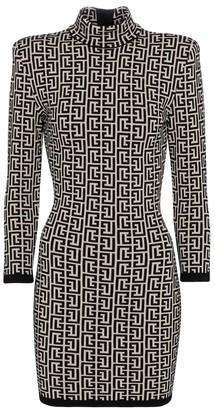 Balmain Jacquard wool-blend minidress
