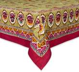 Couleur Nature 71-inches by 128-inches Pansy Tablecloth, Red/Green