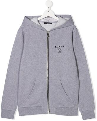 Balmain Kids TEEN logo print zipped hoodie
