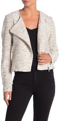 Bagatelle Asymmetrical Zip Boucle Knit Moto Jacket
