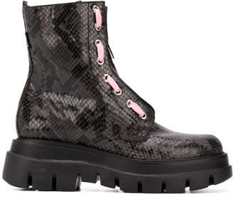 MSGM Snakeskin-Print Ankle-Length Boots