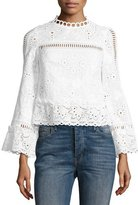 Nanette Lepore The Eyes Have It Cropped Poplin Eyelet Top, White