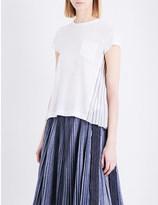Sacai Pinstriped chiffon and linen-jersey T-shirt