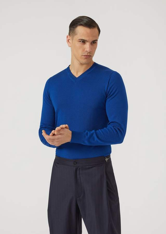 Emporio Armani V-Neck Jumper In Virgin Wool