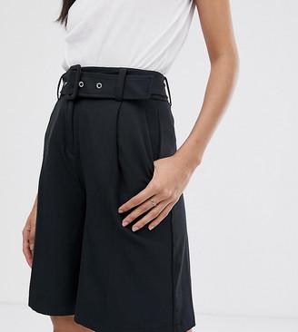 Vero Moda Tall Aware belted tailored city shorts-Black