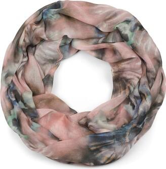 styleBREAKER Ladies Lightweight loop scarf with watercolour batik flower pattern tube scarf scarf 01016200