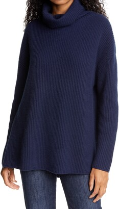 Nordstrom Signature Funnel Neck Cashmere Tunic Sweater