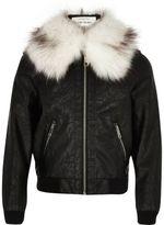 River Island Girls black faux fur collar bomber jacket