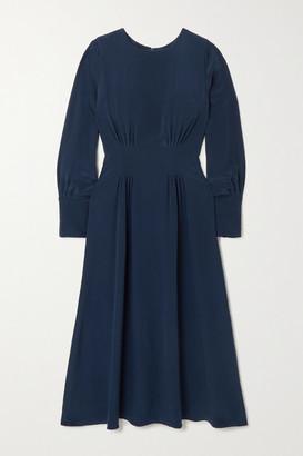 Yoox Net A Porter For The Prince's Foundation YOOX NET-A-PORTER For The Prince's Foundation - Pleated Organic Silk Midi Dress - Navy