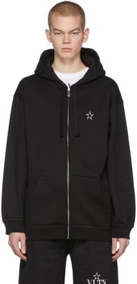 Valentino Black VLTN Star Zip-Up Hoodie