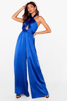Nasty Gal Womens Let her Dance Satin Halter Jumpsuit - Blue - 6, Blue