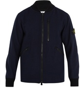 Stone Island Contrast-collar wool-blend bomber jacket