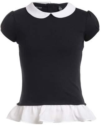 Nautica Uniform Ruffled Short Sleeve Top (Little Girls)