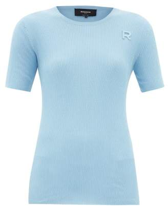 Rochas Monogram-embroidered Ribbed-cotton T-shirt - Womens - Light Blue