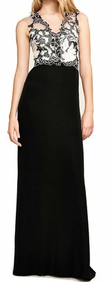 Tadashi Shoji Women's SLVS V/N LACE/Crepe Gown Black/Ivory 14