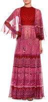 Valentino Flutter-Sleeve Printed Silk Gown, Pink