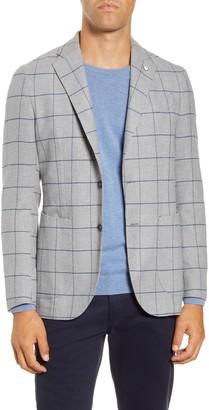 Lubiam Trim Fit Windowpane Cotton Sport Coat