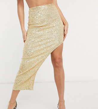 Club L London Tall sequin maxi skirt in light gold