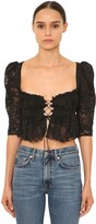 Brock Collection Ruffled Viscose Lace Crop Top