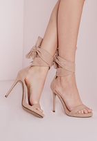 Missguided Ankle Tie Heeled Sandals Nude