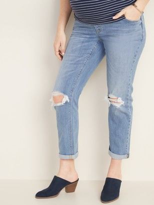 Old Navy Maternity Full-Panel Distressed Boyfriend Straight Jeans