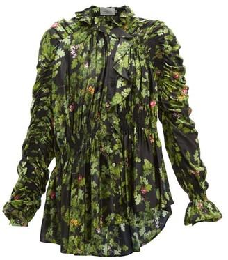Preen by Thornton Bregazzi Sara Oak Leaf-print Ruffled Satin Blouse - Black Multi