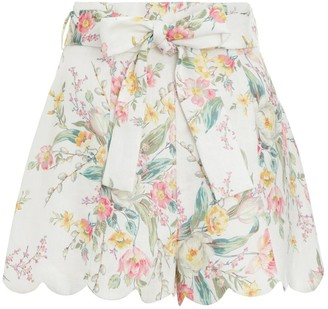 Zimmermann Zinnia High Waisted Short in Ivory Floral