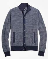 Brooks Brothers Cotton Cashmere Bird's-Eye Button-Front Cardigan