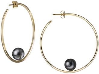 Janis Savitt Gray Pearl Hoop Earrings - Yellow Gold
