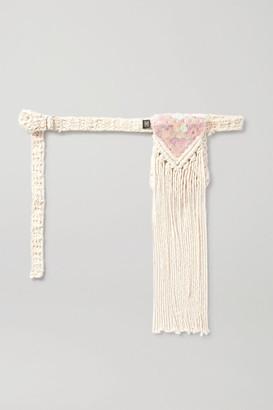 Nannacay Net Sustain Fringed Sequin-embellished Macrame Belt Bag - Off-white