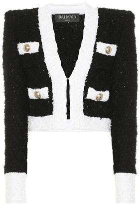 Balmain Cotton-blend boucle jacket