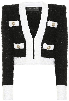 Balmain Cotton-blend boucle jacket