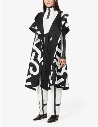 Issey Miyake Graphic-print hooded cotton coat