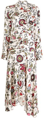 MATÉRIEL Floral Draped Asymmetric Dress