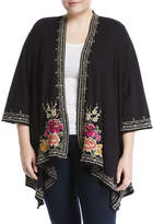 Johnny Was Flores Draped Embroidered French Terry Cardigan, Plus Size