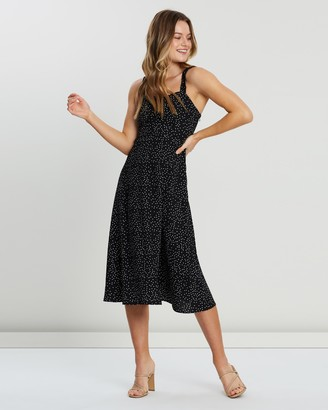 Atmos & Here Claire Ruffle Strap Midi Dress