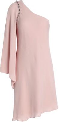 Haute Hippie One-shoulder Silk Crepe De Chine Mini Dress