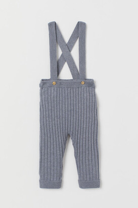 H&M Rib-knit Pants with Suspenders - Blue