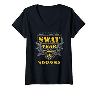 Womens Wisconsin Police SWAT Team State Off Duty Officer Gift V-Neck T-Shirt